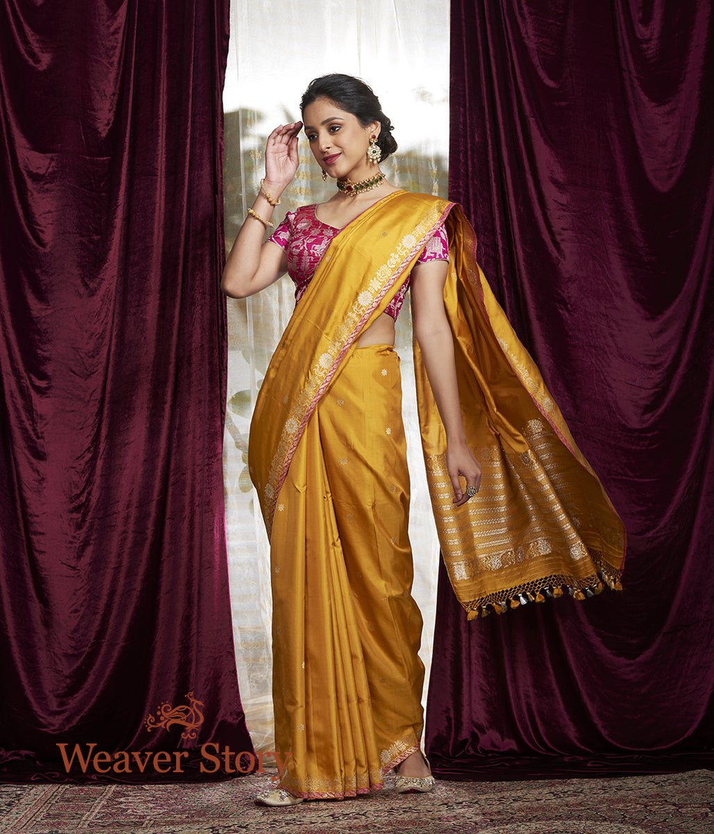 Handwoven Mustard Kadhwa Boota Saree with Small Border