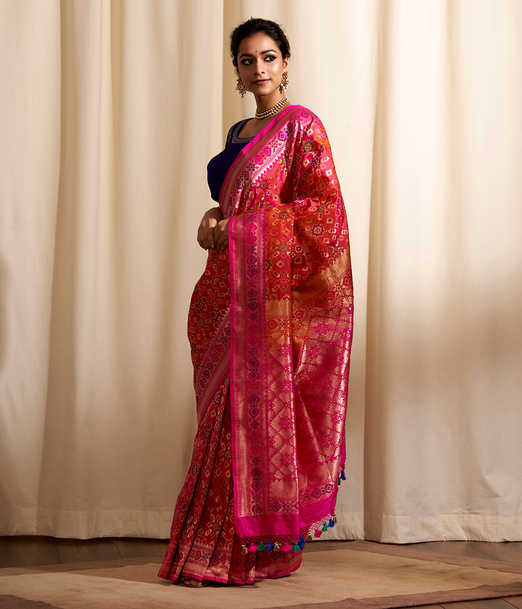 Handwoven Banarasi Patola Saree in Hot Pink