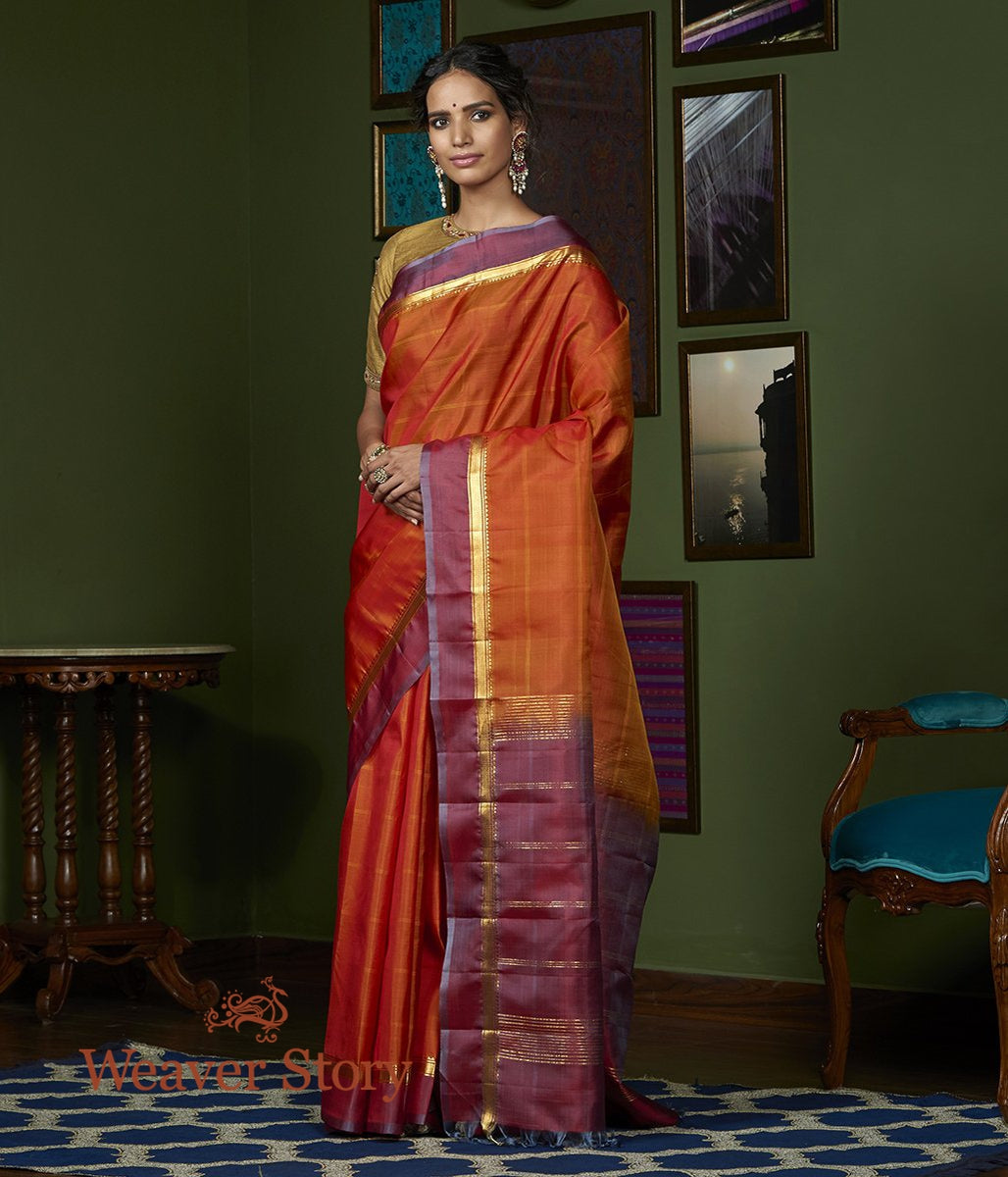 Handwoven Rust Kanjivaram Sailk Saree with Wine Border