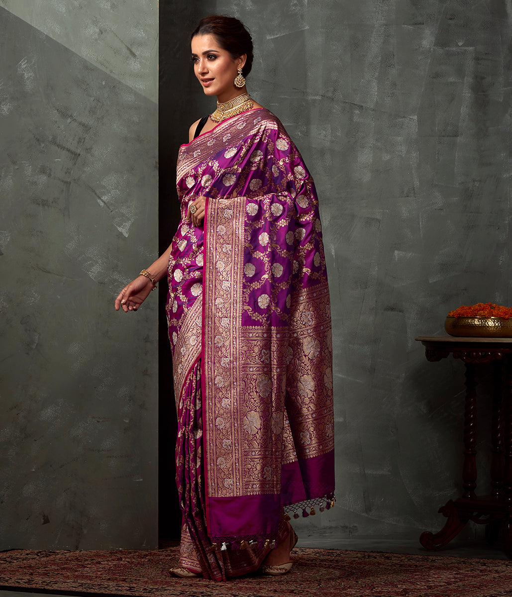 Handwoven Purple Kadhwa Jangla Saree