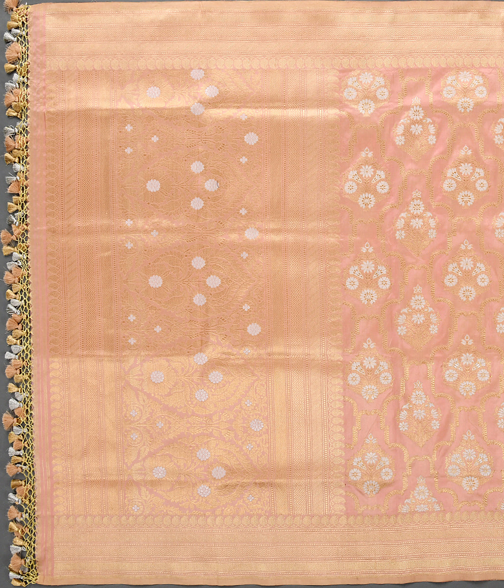 Handwoven Light Peach Kadhwa Jangla Dupatta