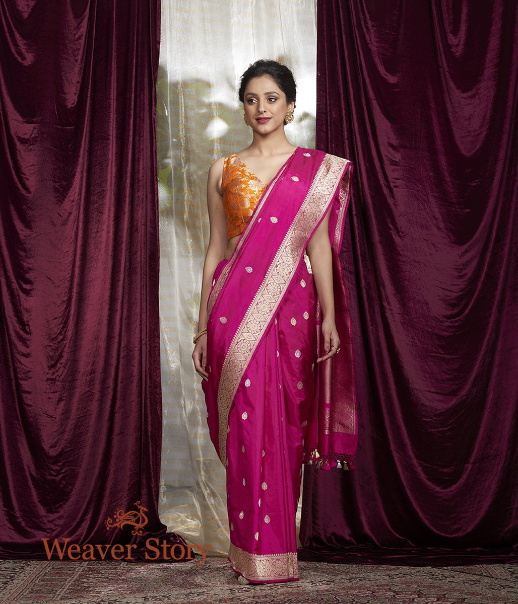 Handwoven Pink Kadhwa Booti Saree with Gold and Silver Zari
