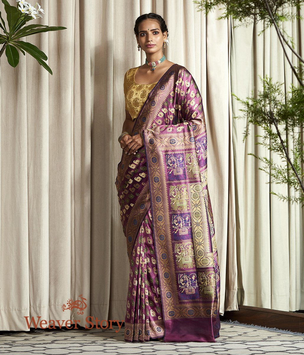 Handwoven Mauve Banaras Baluchari Saree with Elephant Pallu