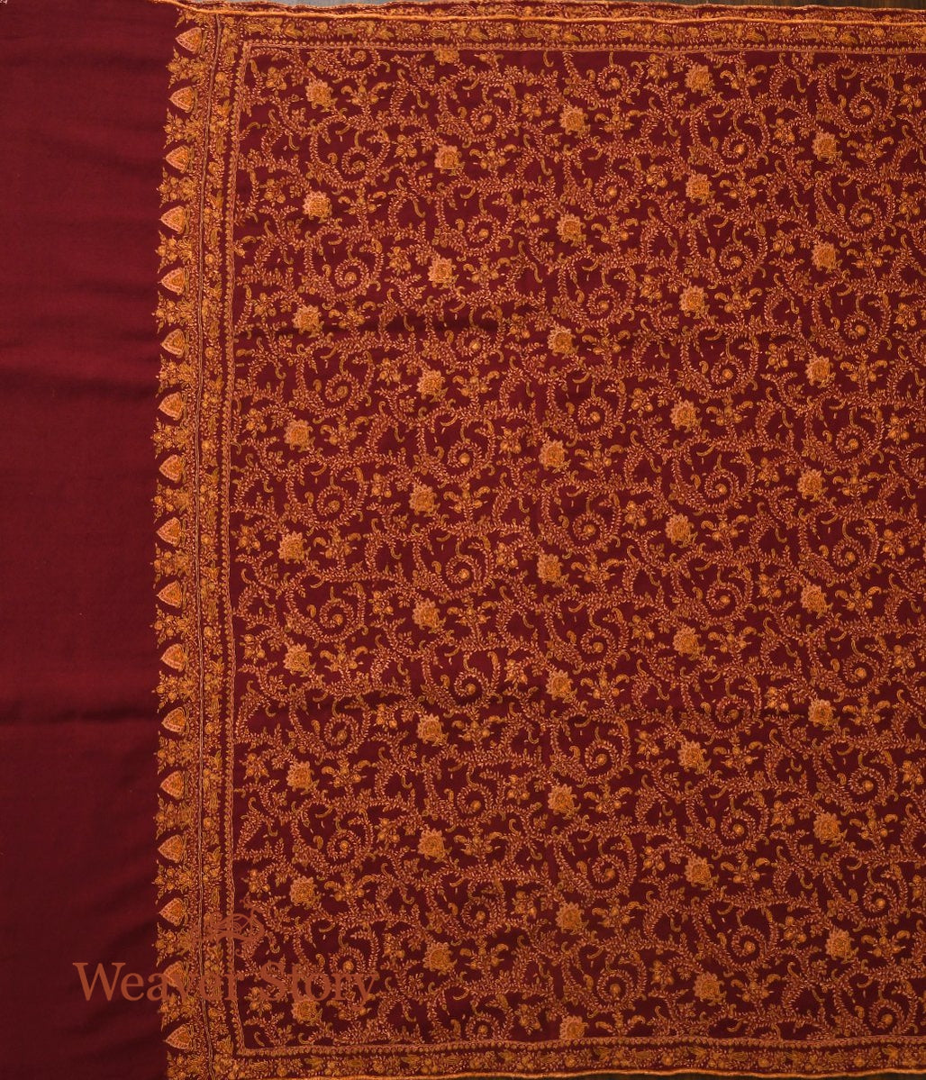 Maroon Pure Pashmina Shwal with all over Sozni Kari Jamawar