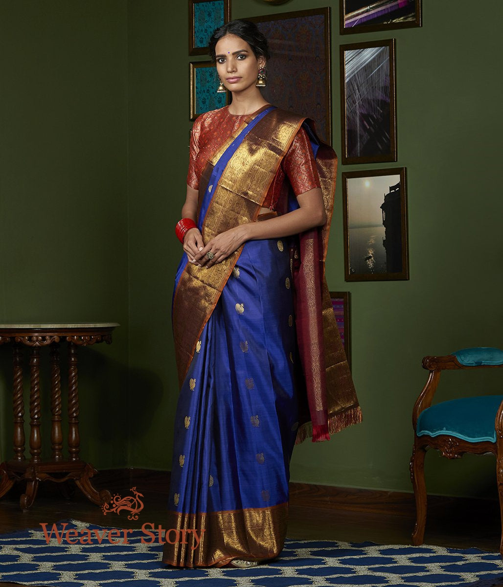 Handwoven Blue Pure Zari Kanjivaram Saree with Board Border