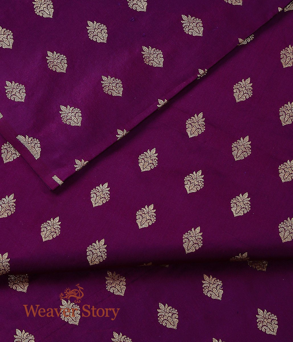 Handwoven Purple Pure Satin Cutwork Booti Fabric