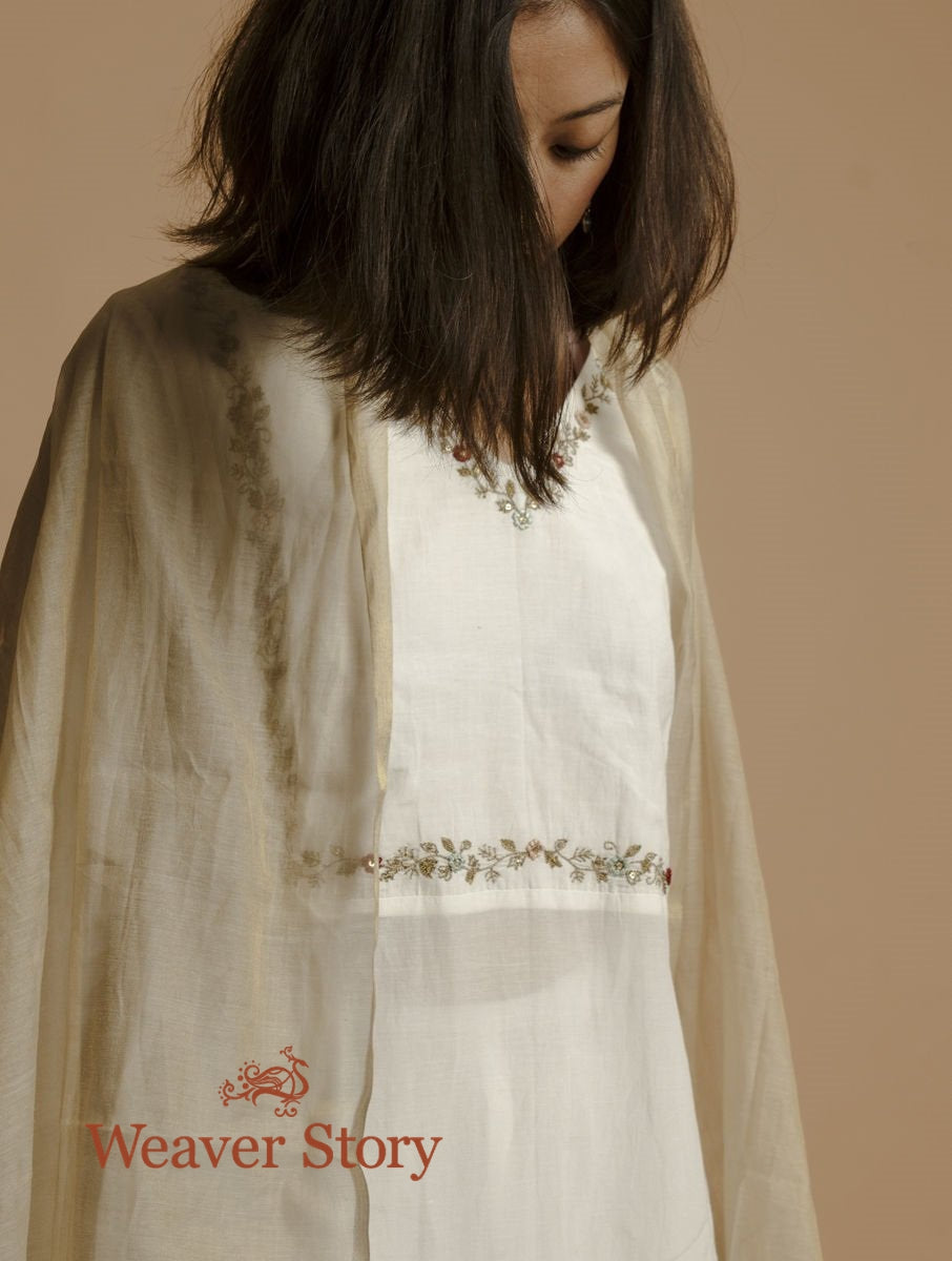 Ivory Handloom Cotton Silk Kurta with Hand Embroidery, Trousers and Gold Tissue Dupatta