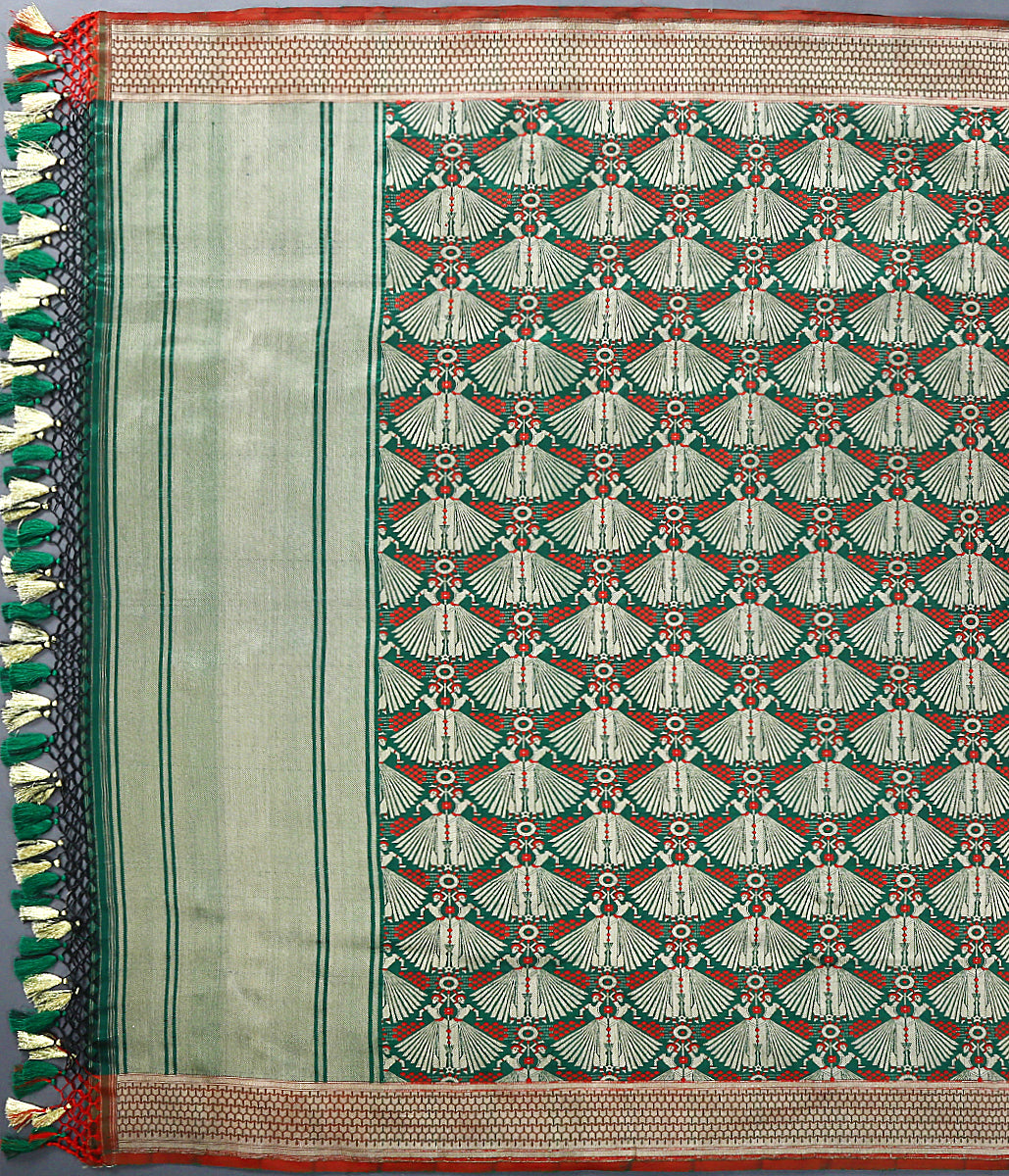 Handwoven Green Banarasi Silk Dupatta With Nartaki Motif