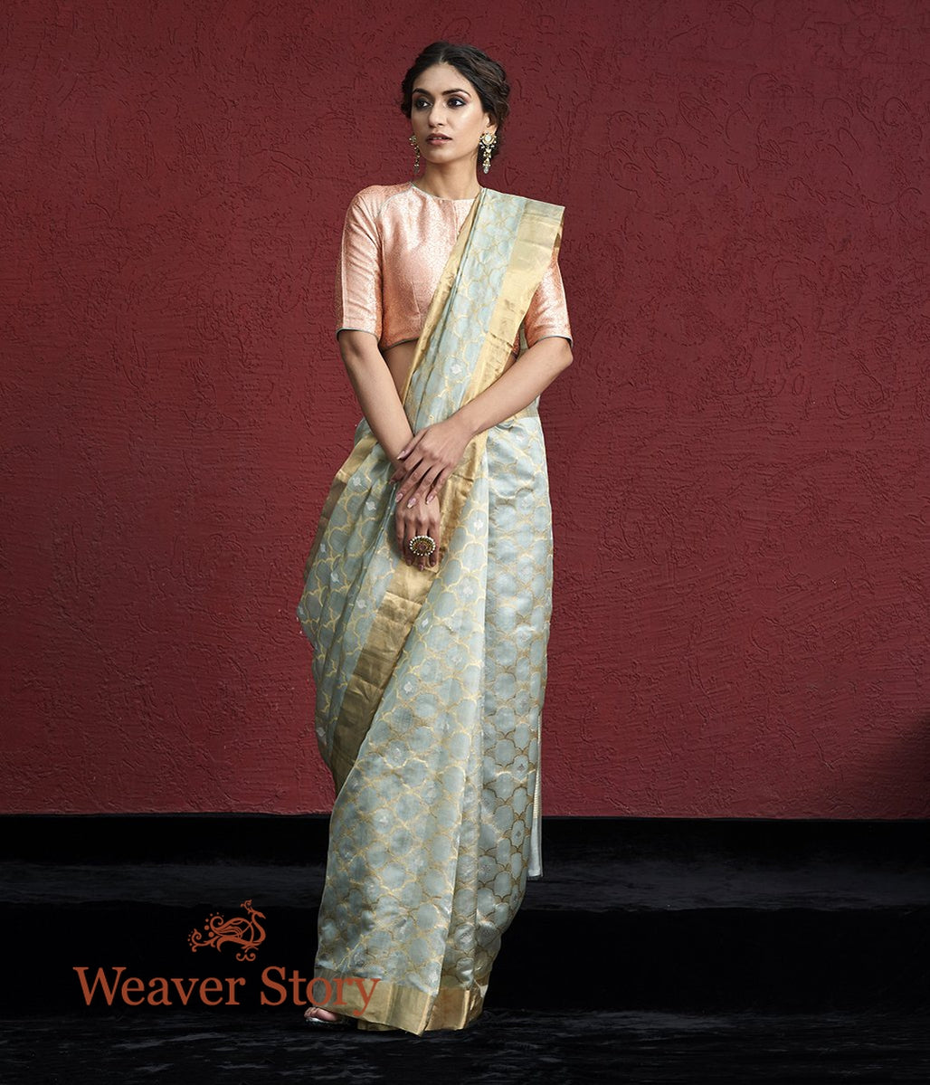 Handwoven Powder Blue Chanderi Silk Saree with Gold and Silver Zari Jaal