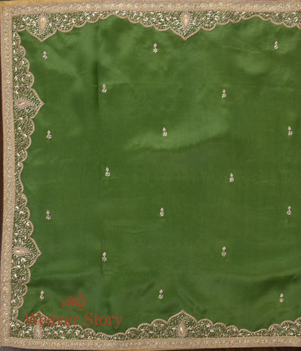 Heena Green Zardozi Dupatta with Mughal Border