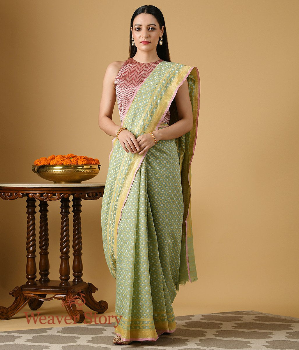 Handwoven Light Green Banarasi Cotton Saree with Gold and Silver Zari Jaal