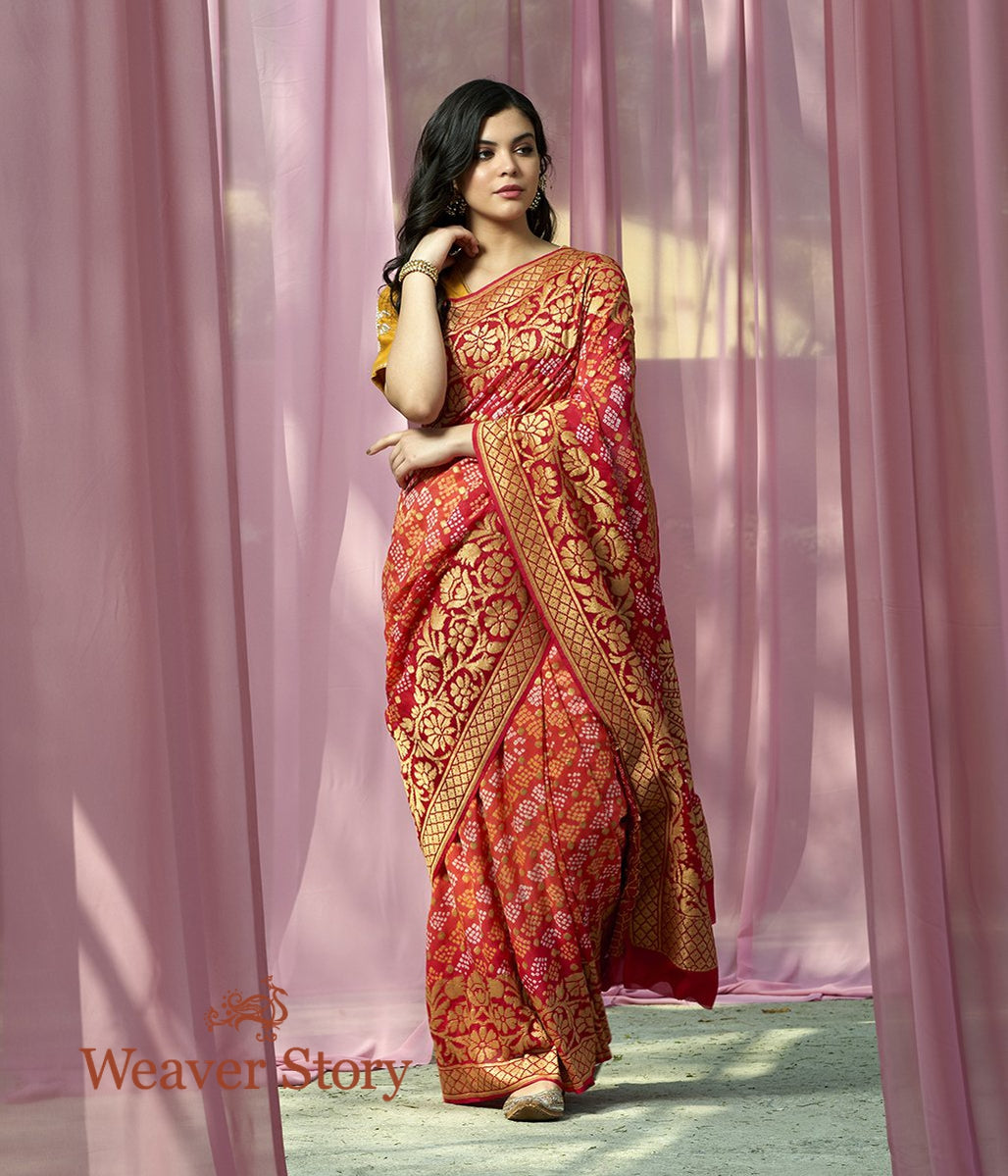 Handwoven Orange Red Banarsi Bandhej Saree