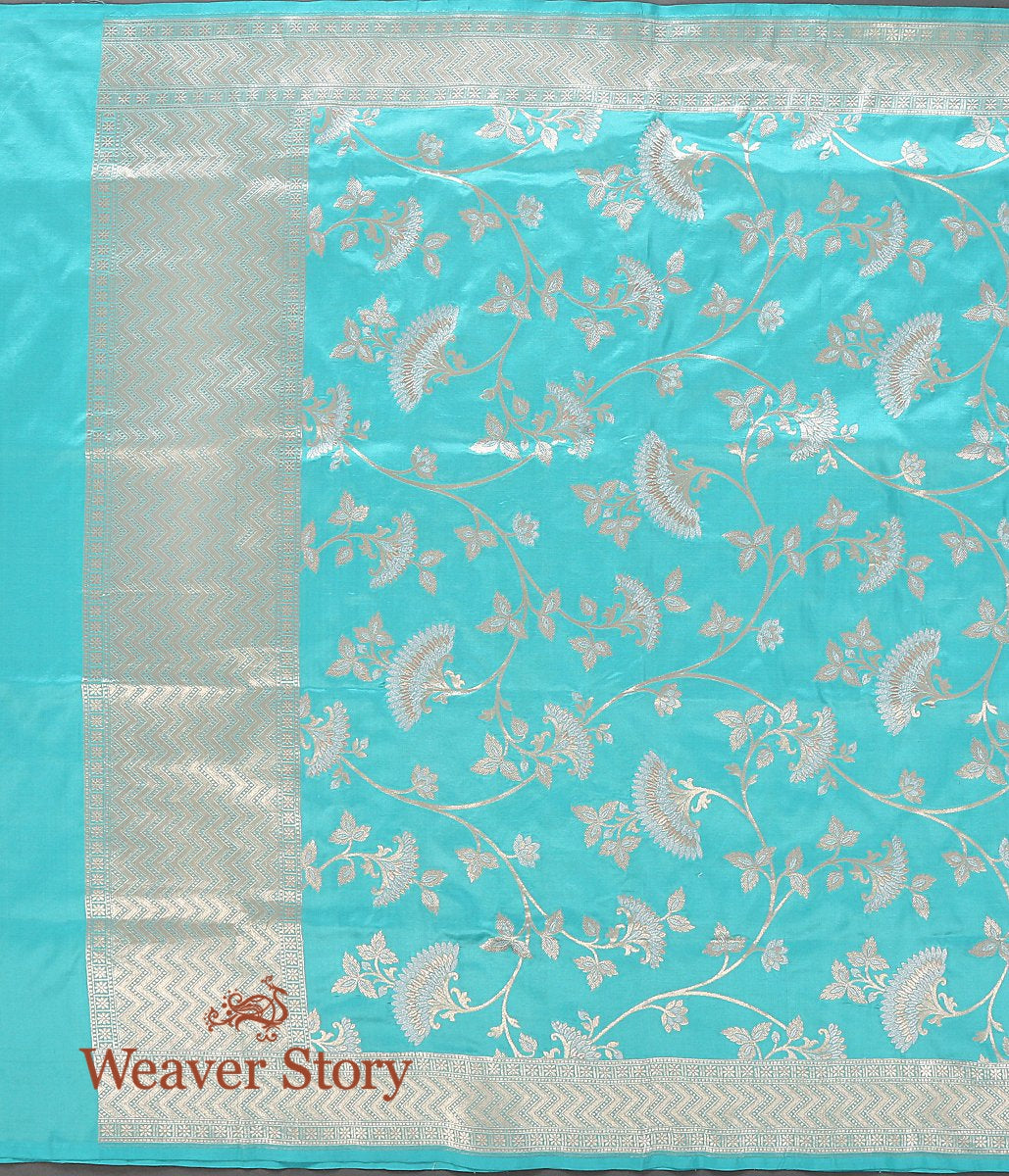 Handwoven Light Blue Cutwork Jangla Dupatta