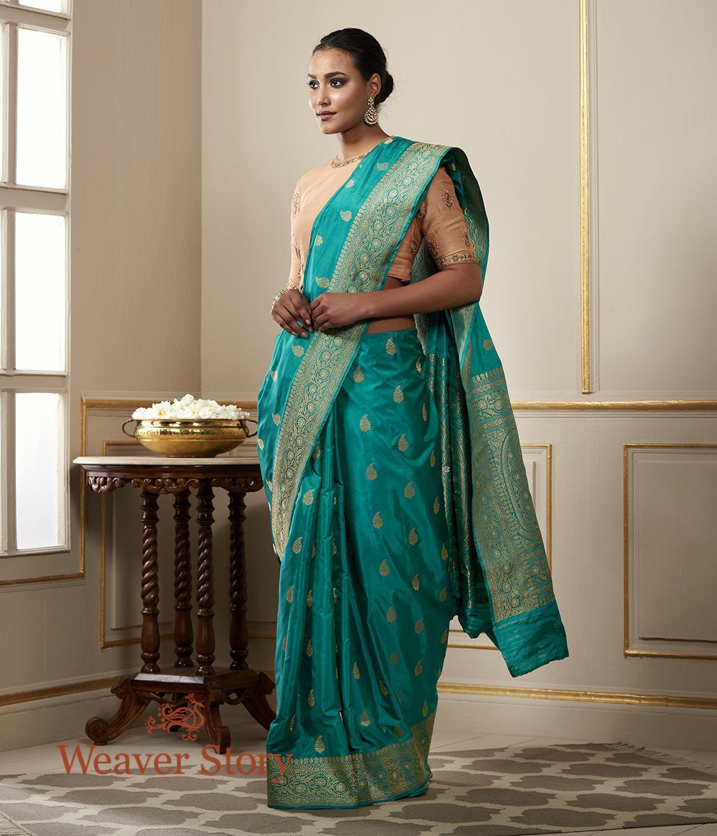 Handwoven Peacock Blue Kadhwa Booti Saree