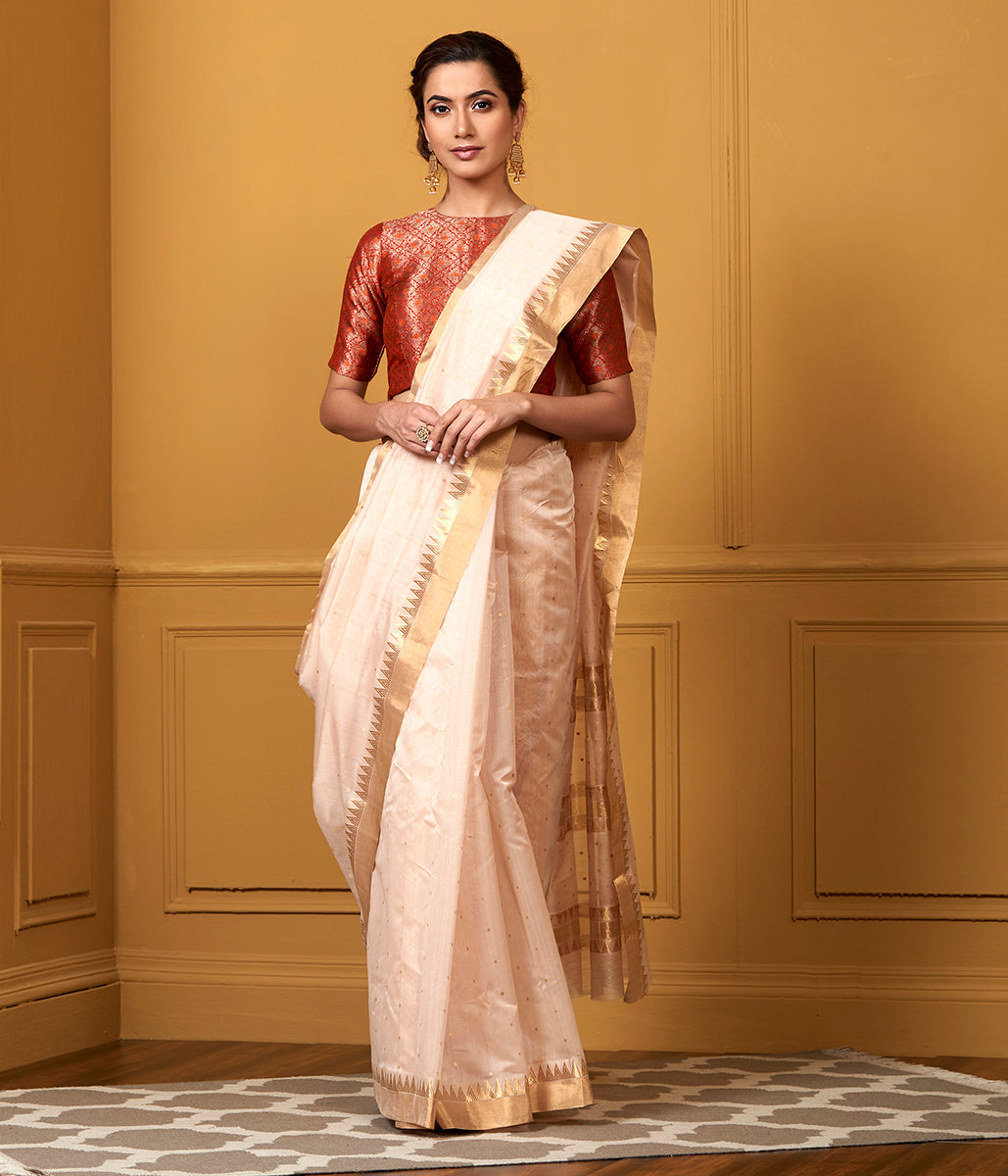Handwoven Peach Small Booti Saree with Temple Border