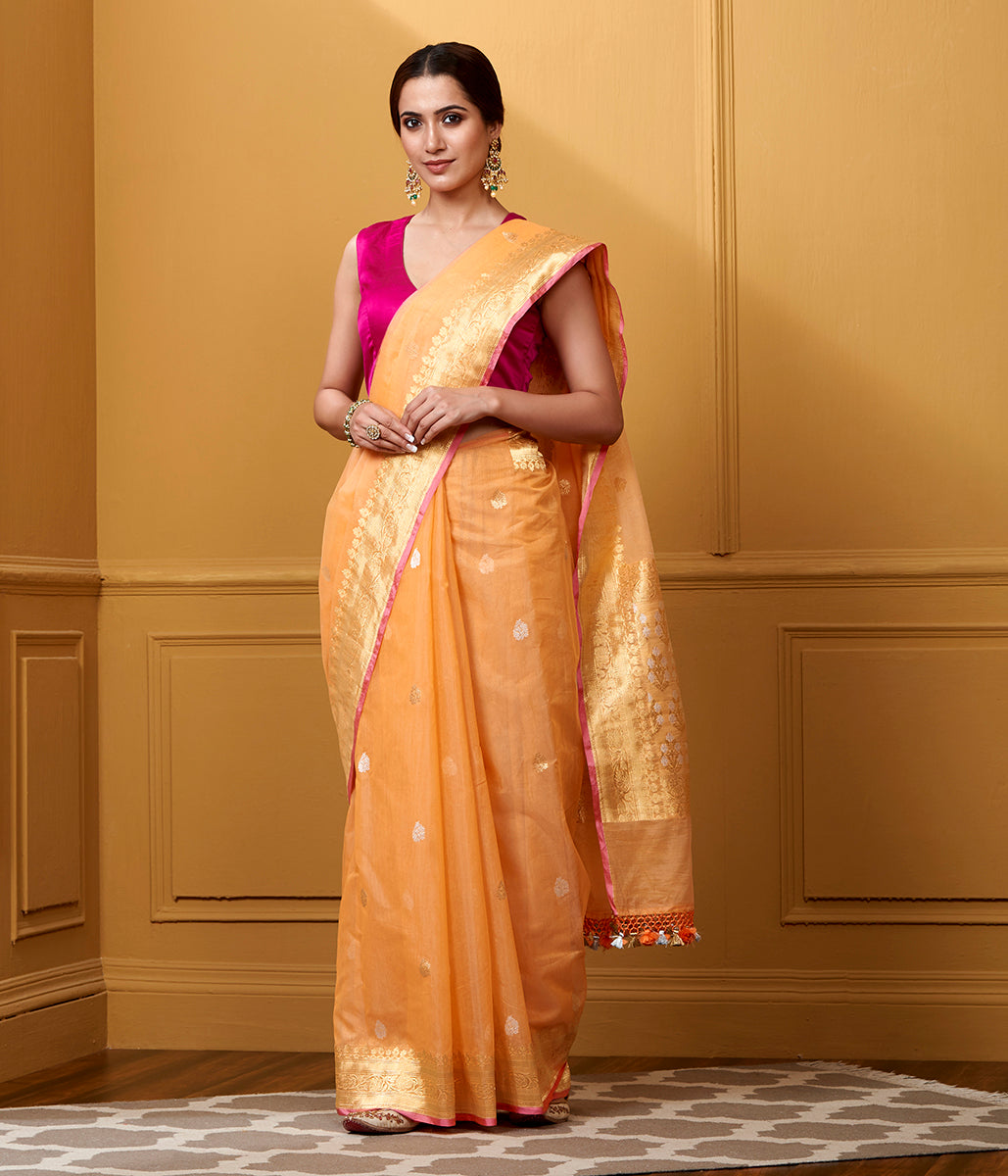 Handwoven Peach Kora Cotton Saree with Kadhwa Booti