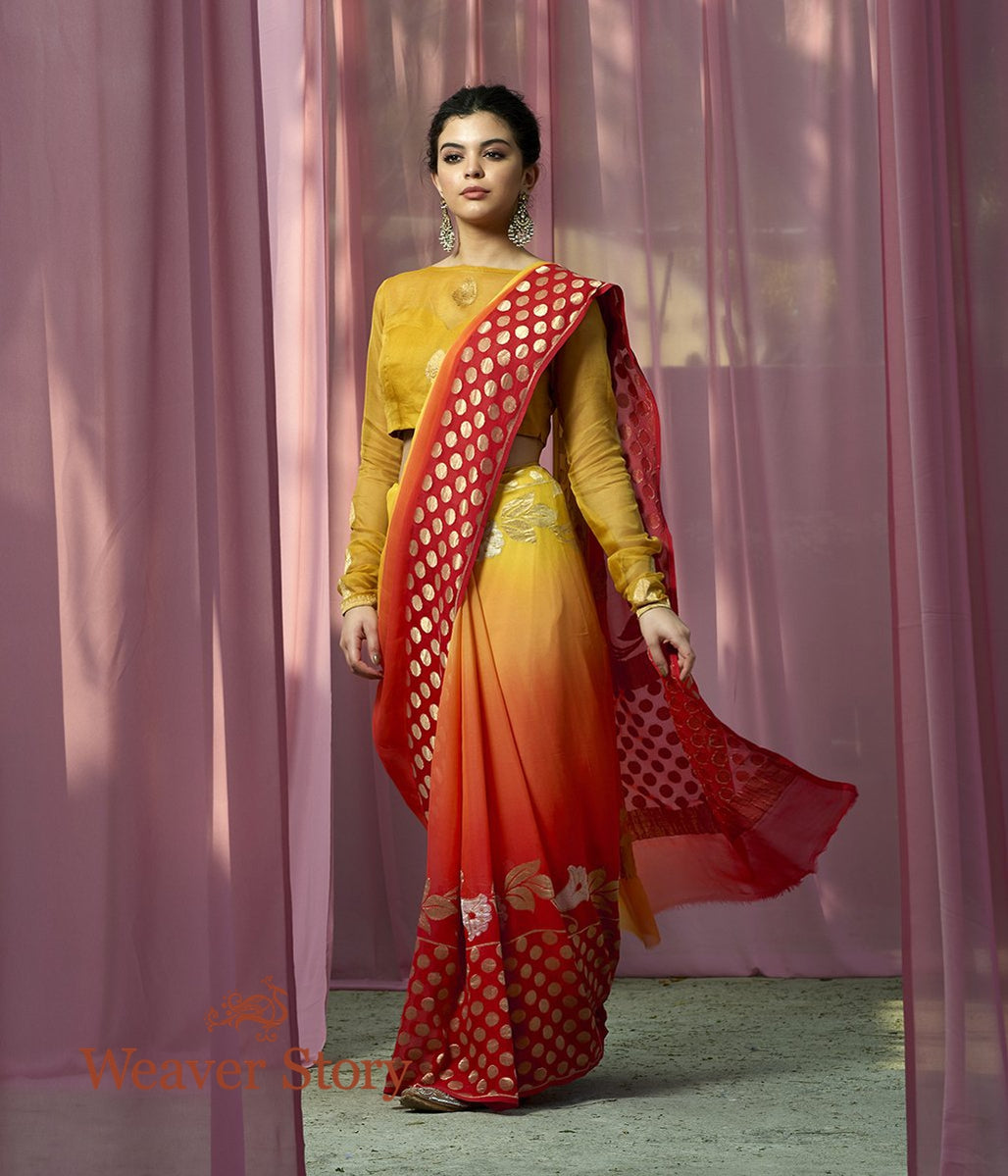 Handwoven Red Yellow Sona Rupa Georgette Saree