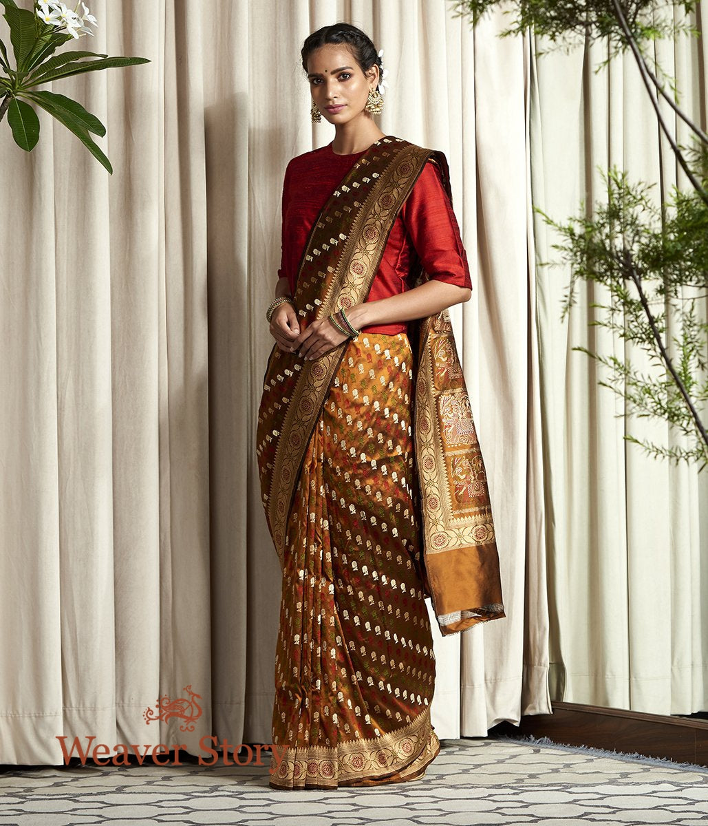 Handwoven Copper and Black Baluchari Saree with Elephant Pallu