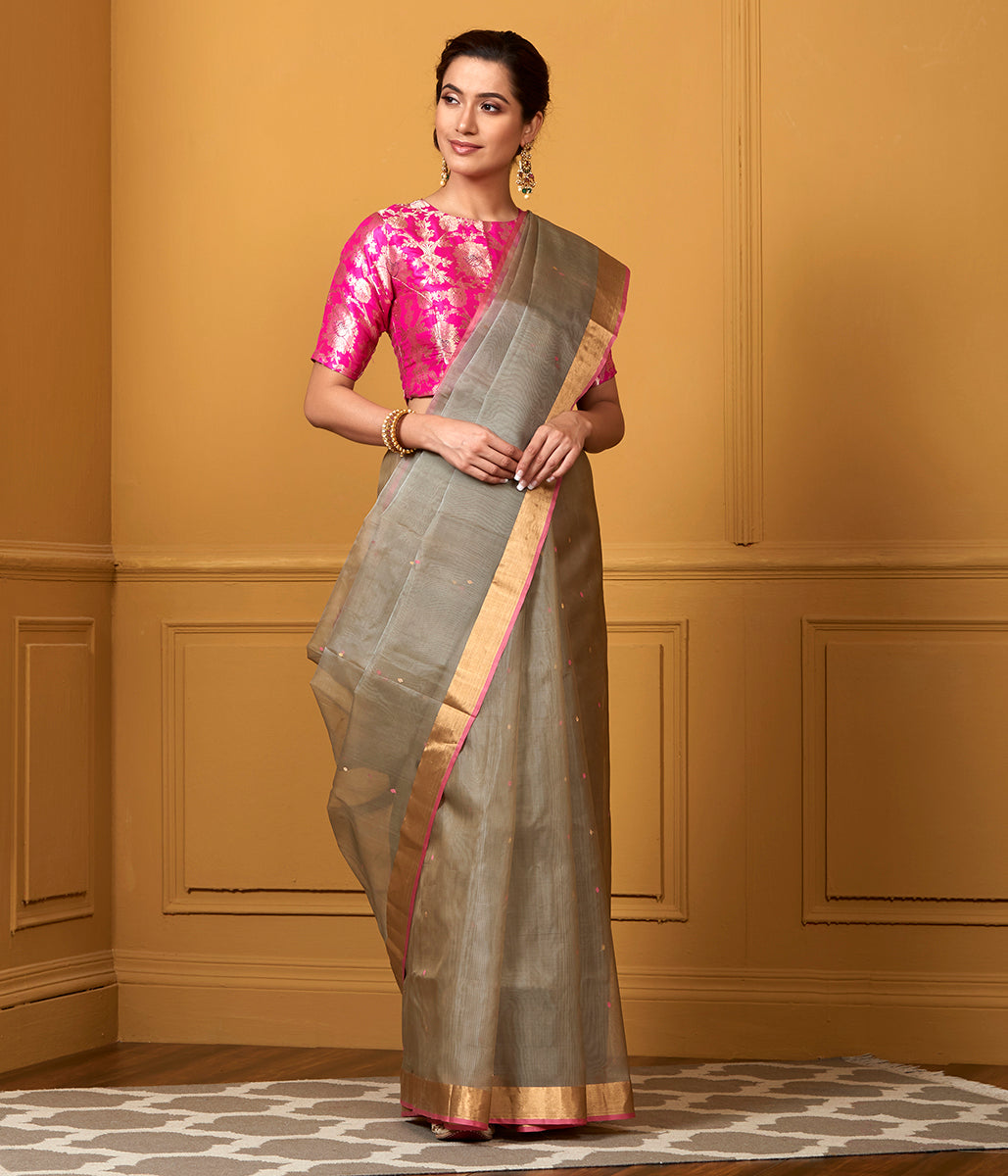 Handwoven Grey Kora Silk Chanderi Saree with Pink Booti and Meenakari Pallu