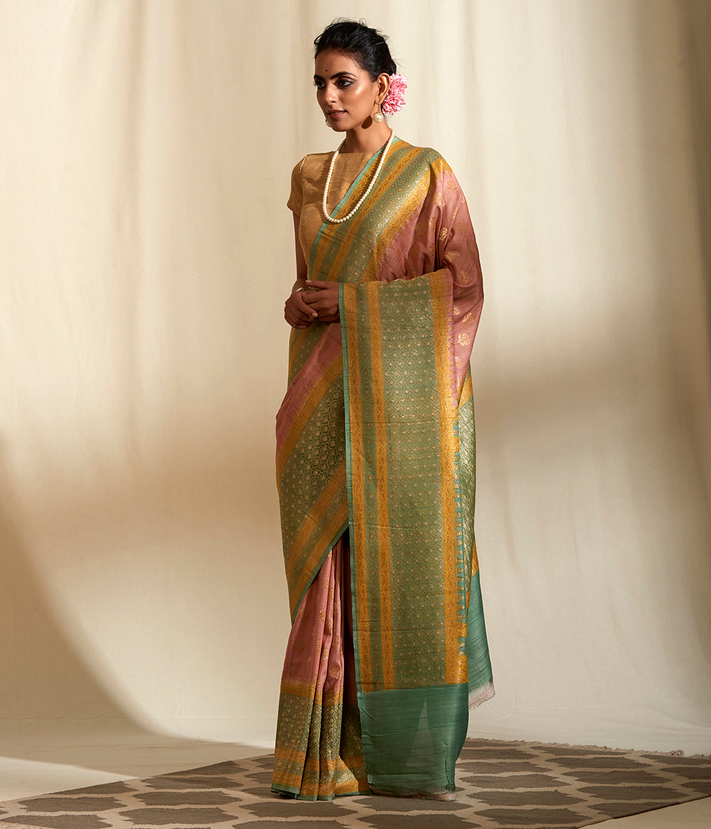 Handwoven Light Pink Kadhwa Tusser Georgette with Pista Green Border Saree