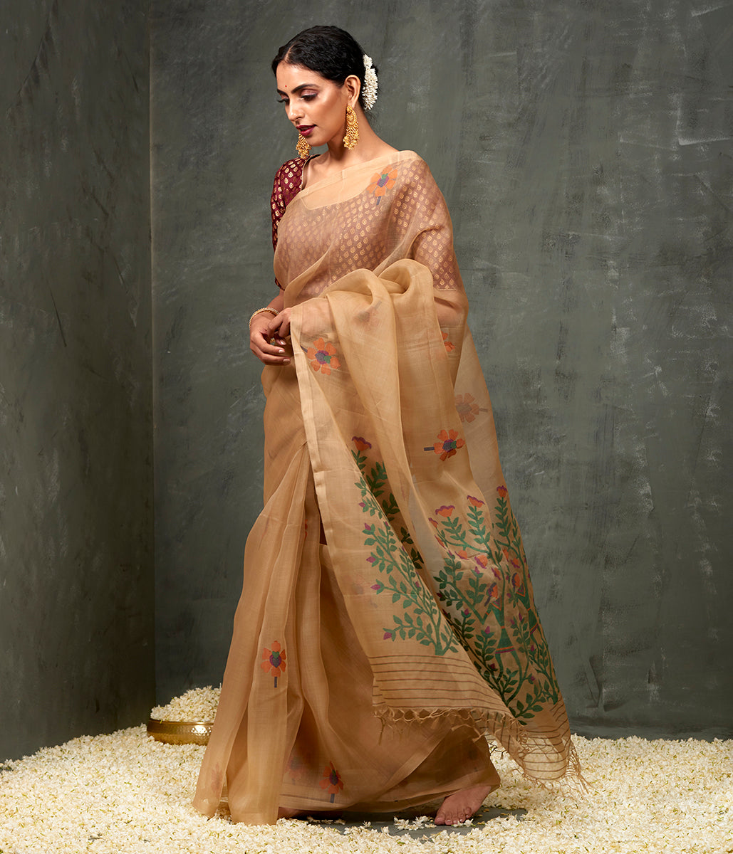 Handwoven Khaki Muslin Dhakai Jamdani Saree with Floral Motif and Heavy Pallu