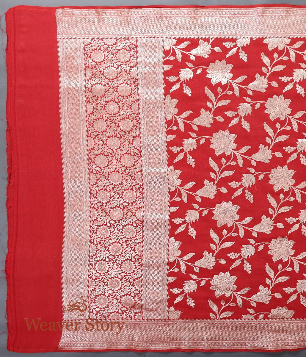 Handwoven Red Munga Silk Dupatta with Cutwork Jaal