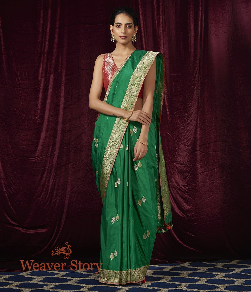 Handwoven Green Kadhwa Booti Saree with Twin Leaf Motif
