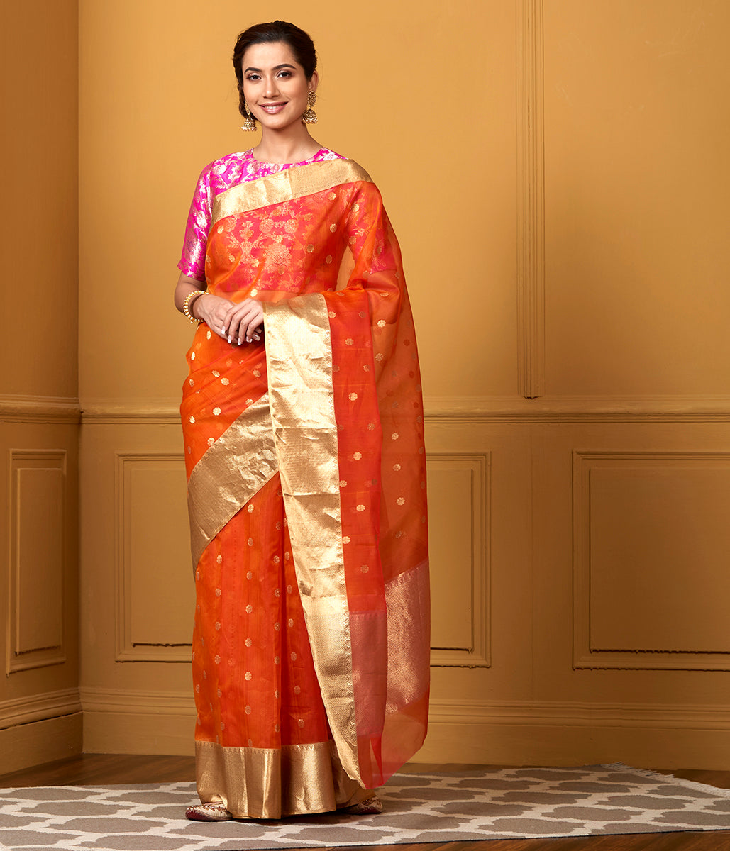 Handwoven Orange Kora Saree with Gold Zari Border
