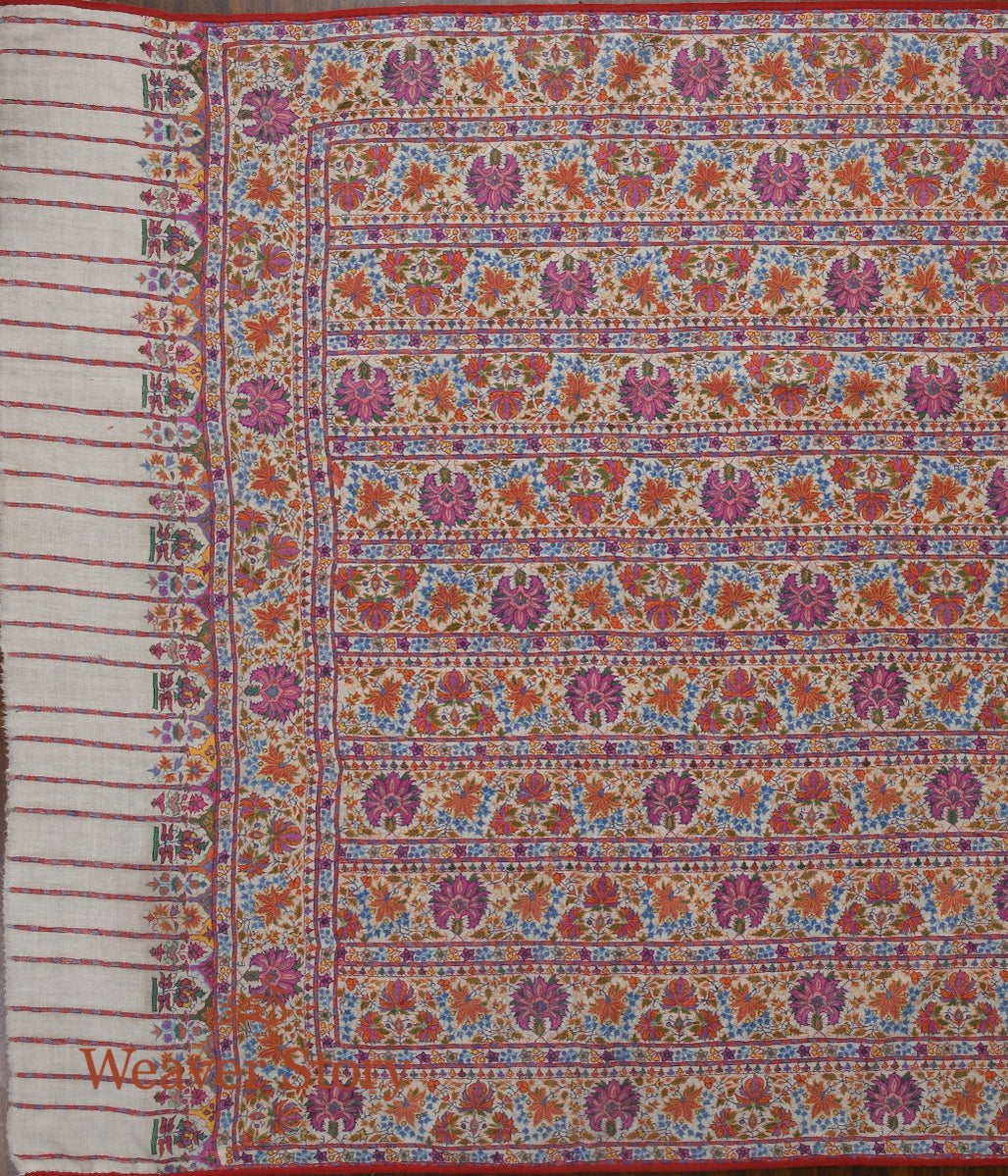 Off White Shawl with Striped Floral Pattern with Kalamkari