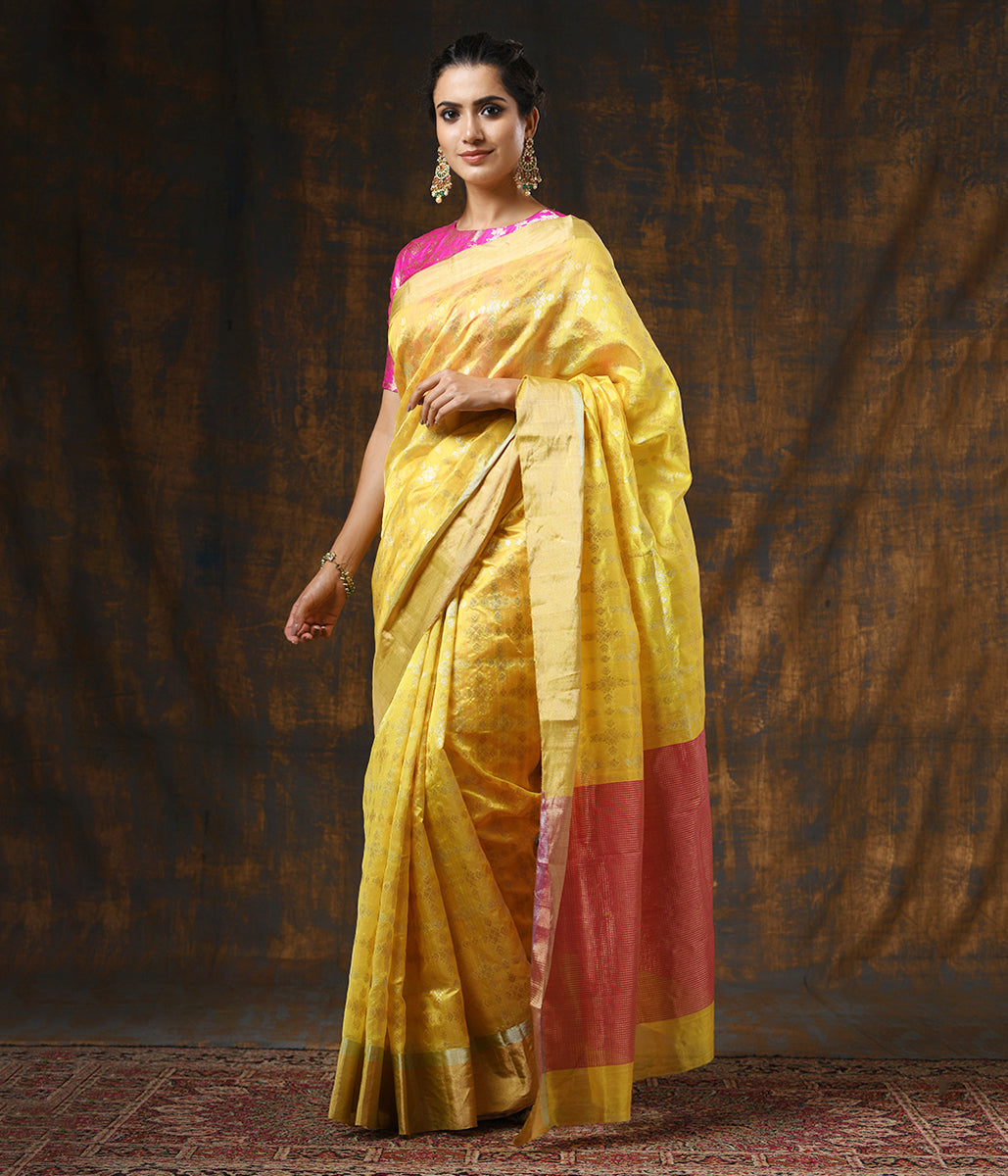 Handwoven Yellow Chanderi Silk Saree with Gold Silver Zari Jaal