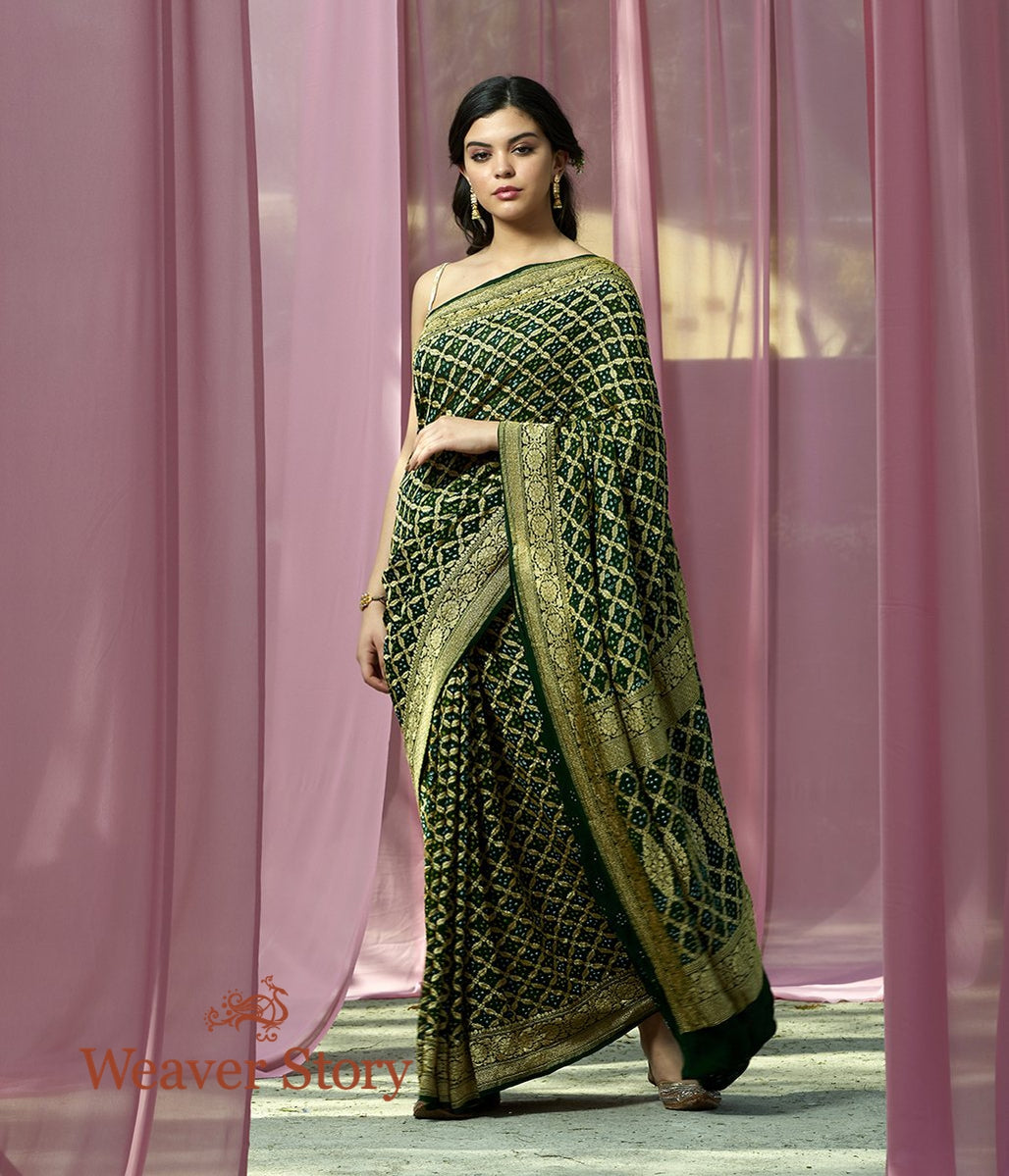 Handwoven Bottle Green Banarasi Bandhej Saree