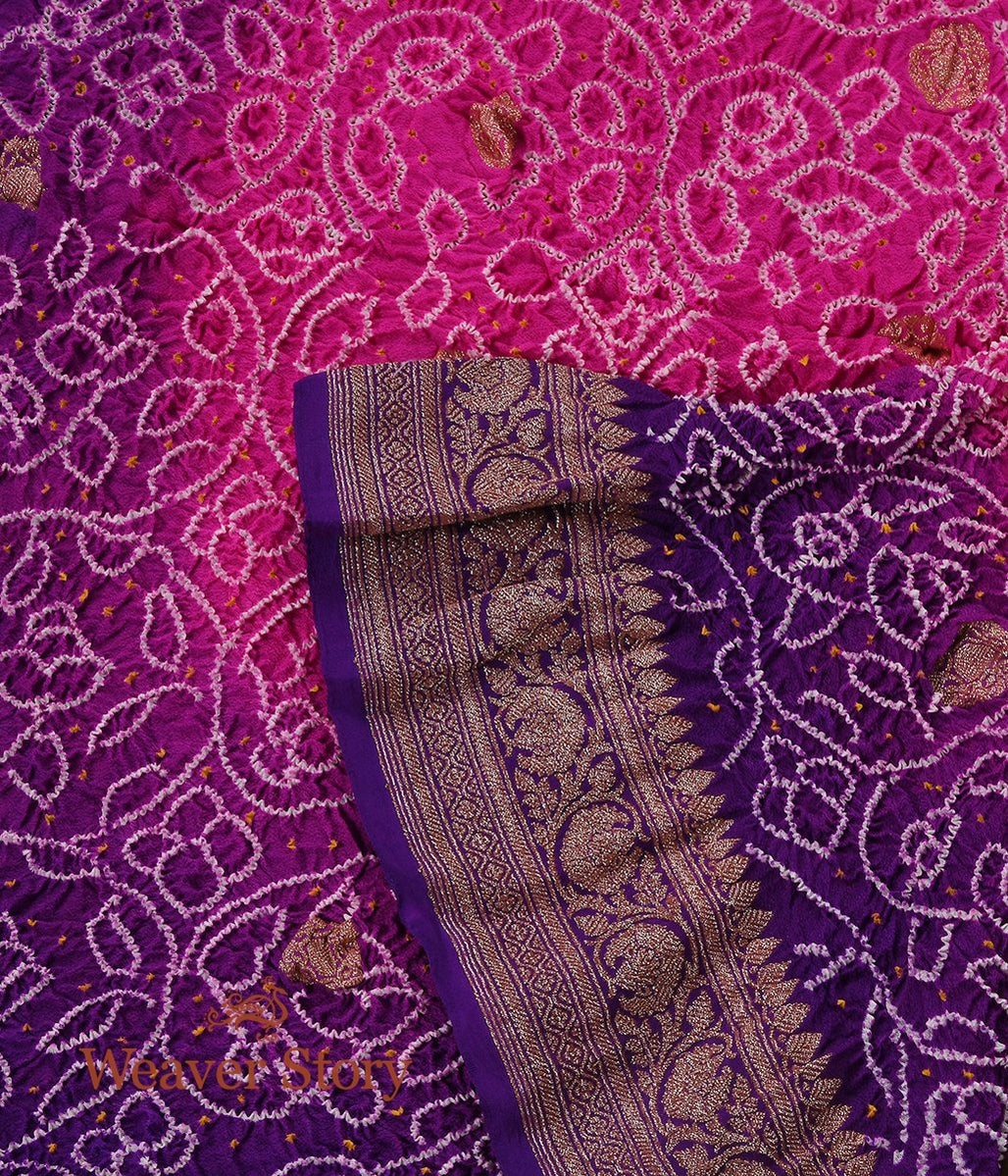 Handwoven Purple and Pink Ombre Dye Kadhwa Bandhej Dupatta