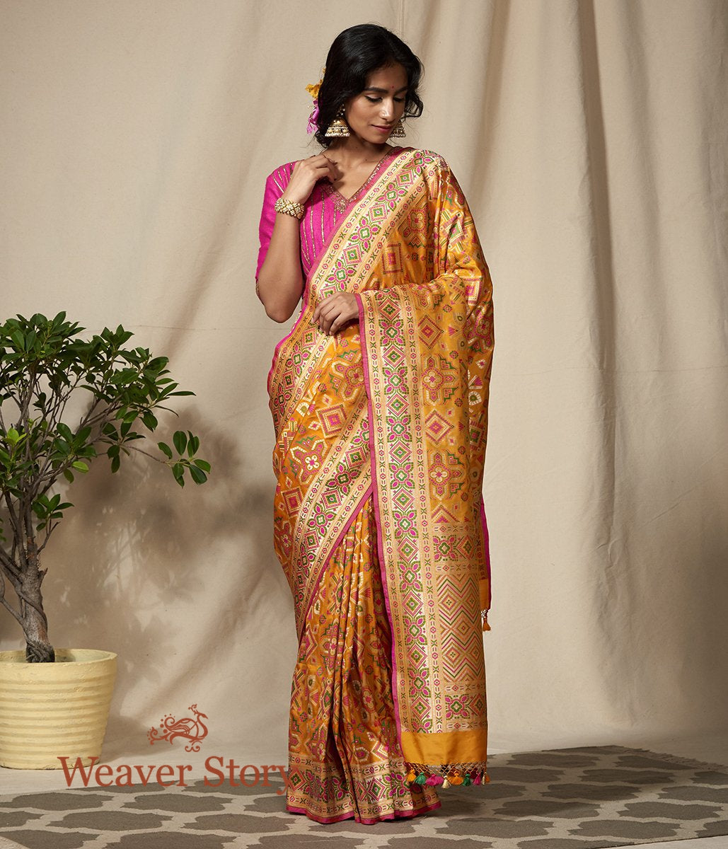 Handwoven Banarasi Patola Saree with Zari Meenakari Border
