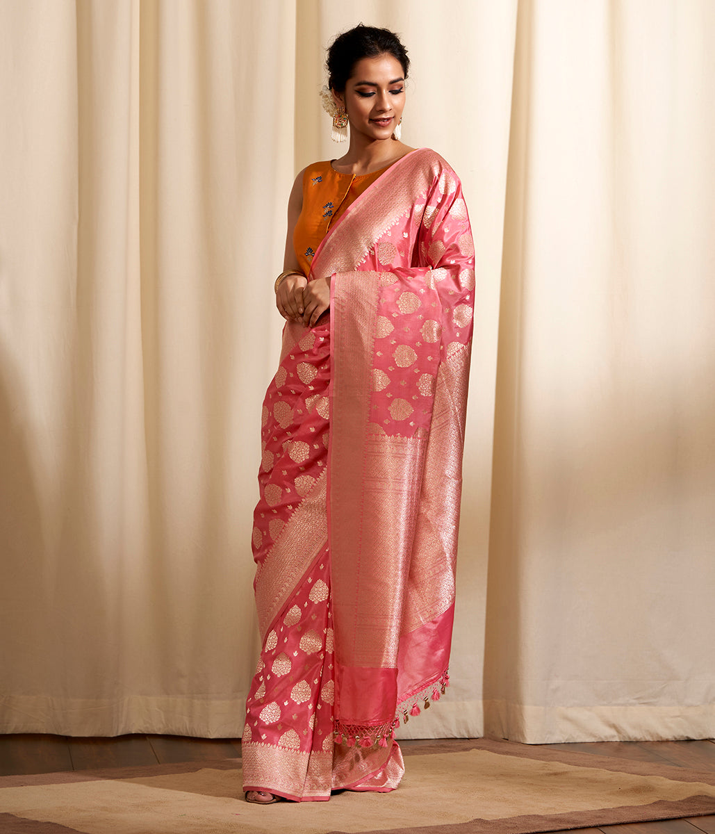 Hanwoven Soft Pink Cutwork Boota Saree
