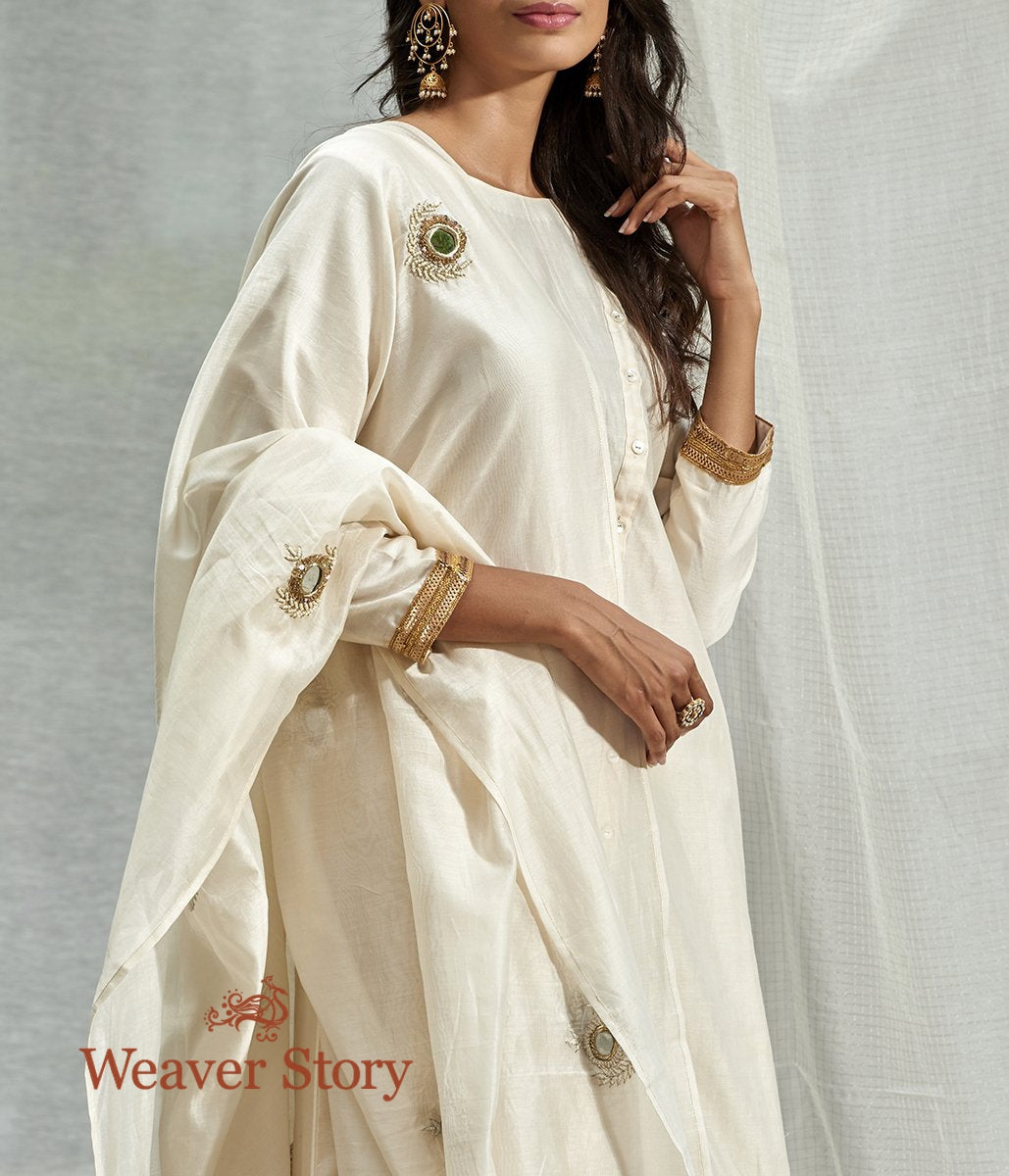 Handwoven Off White Chanderi Skirt Set with Mirror Work Dupatta