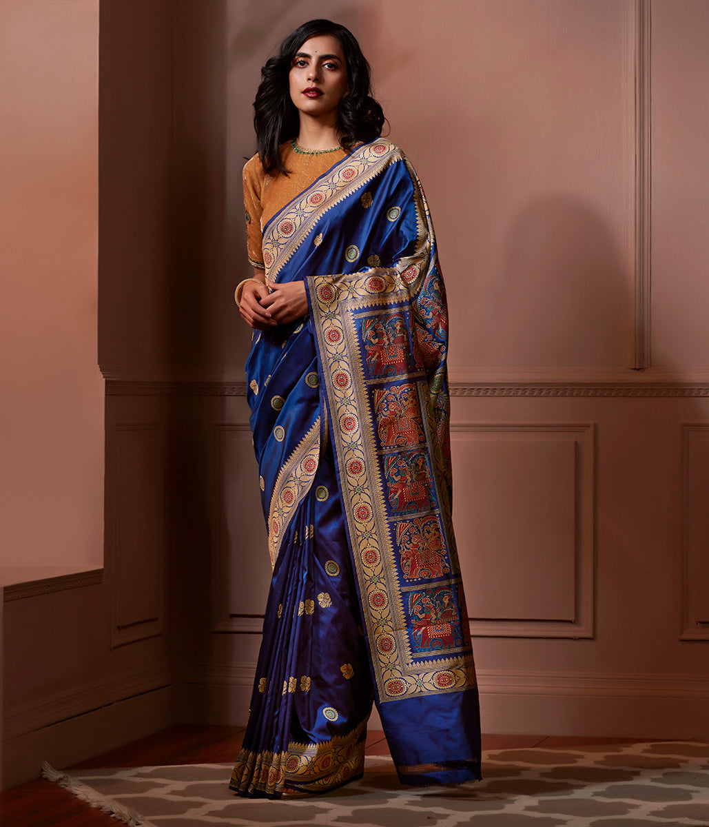 Banaras Baluchari Saree in Blue Color