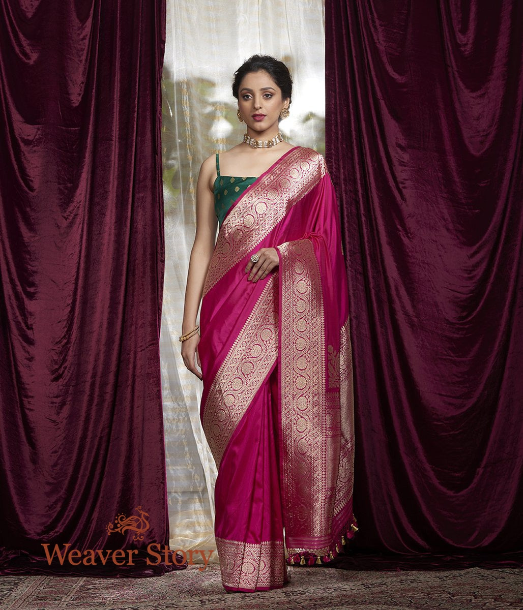 Handwoven Pink Plain Katan Silk Saree with Konia