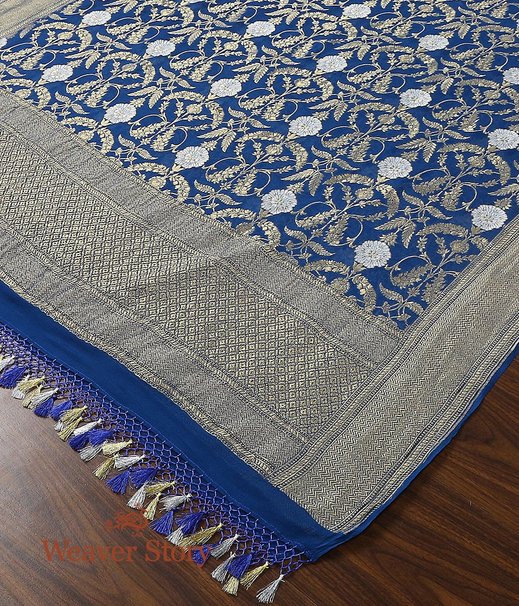 Handwoven Banarasi Georgette Cutwork Dupatta in Blue