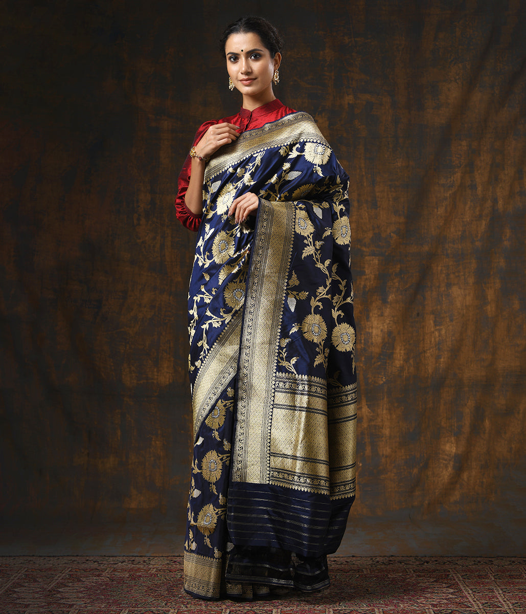 Handwoven Kadhwa Banarasi Jangla in Blue with Sona Rupa Zari