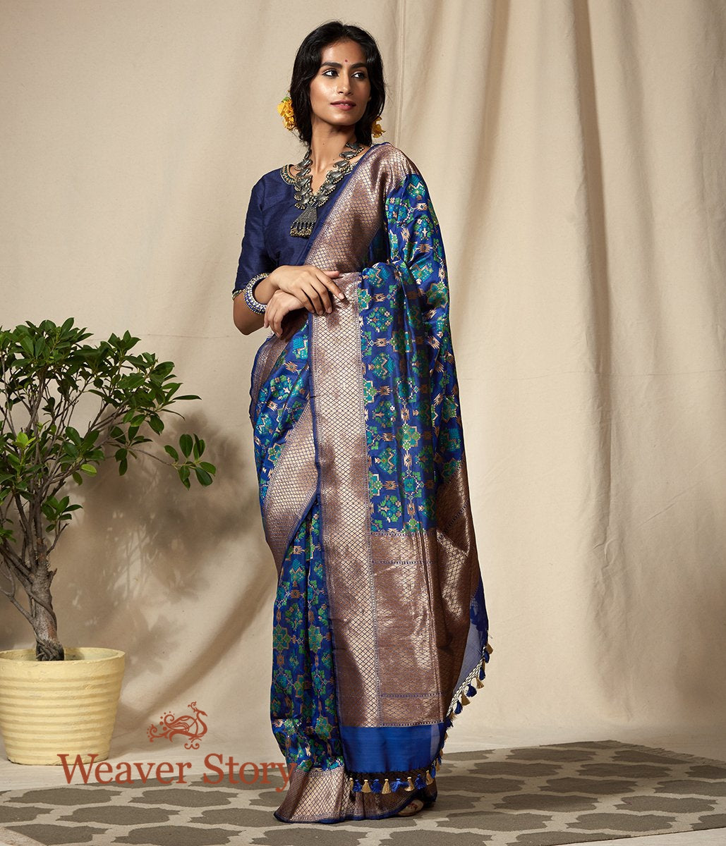 Handwoven Blue and Green Antique Zari Banarasi Patola Saree