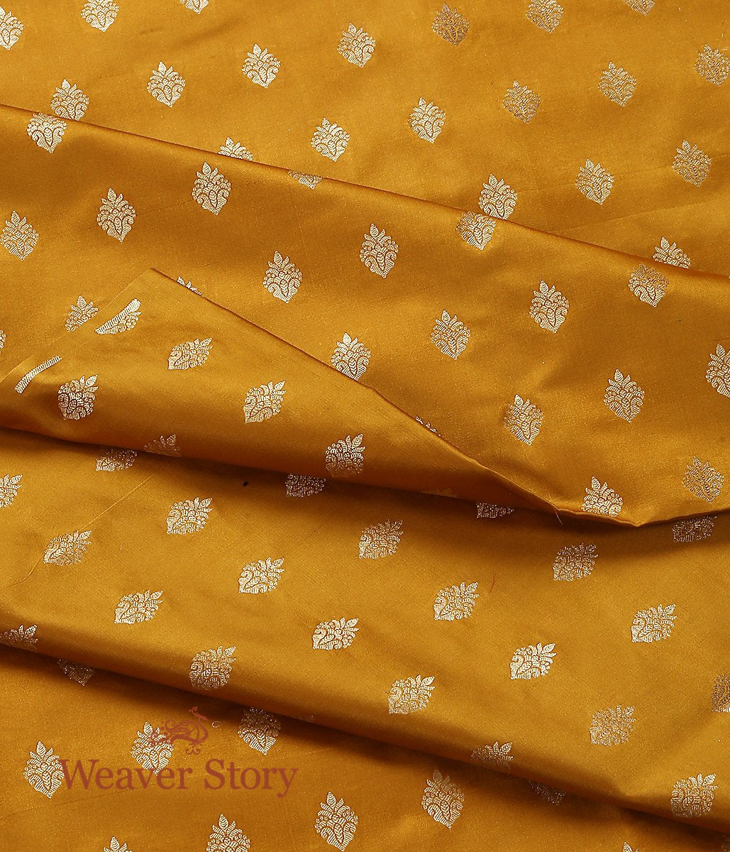 Handwoven Mustard Gold Zari Satin Booti Fabric