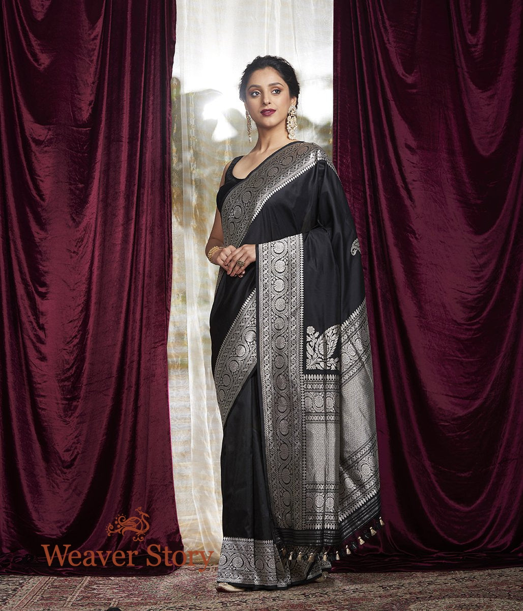Handwoven Black Banarasi Silk Saree with Konia
