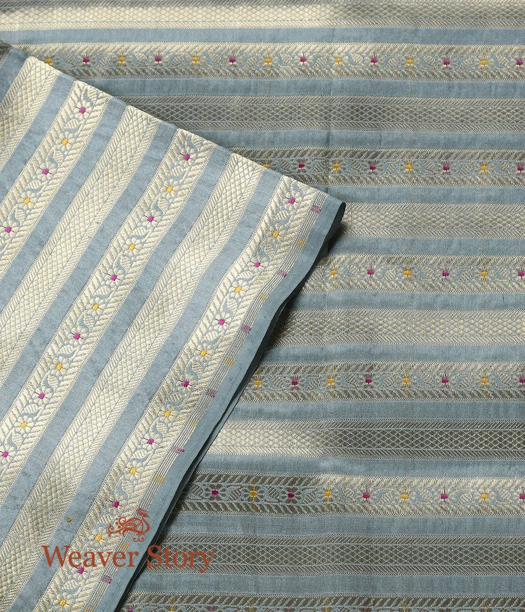 Handwoven Powder Blue Meenakari Brocade Fabric with Stripes