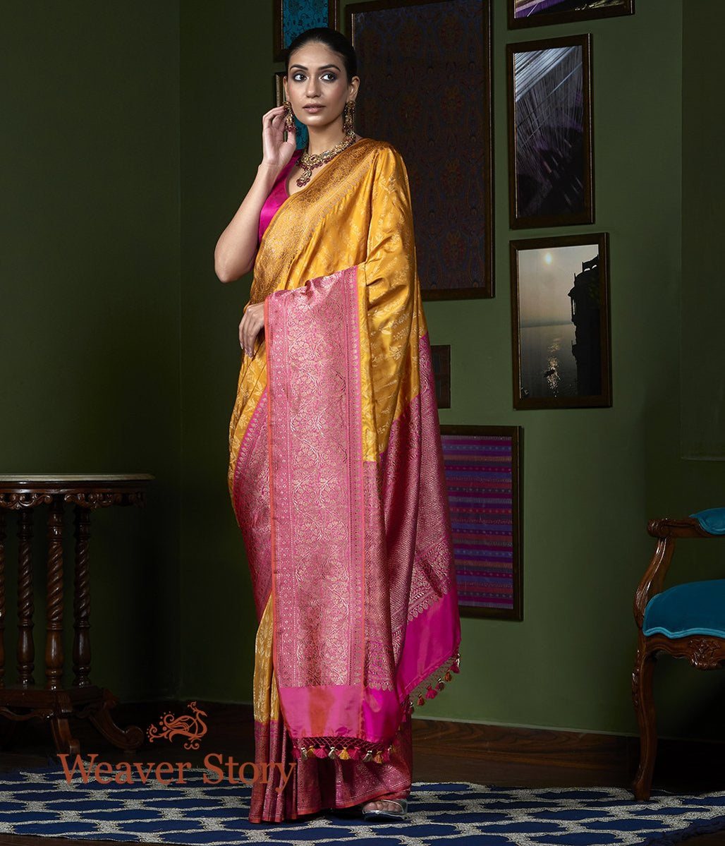 Handwoven Mustard Jamdani Weave Saree with Pink Kadhiyal Border