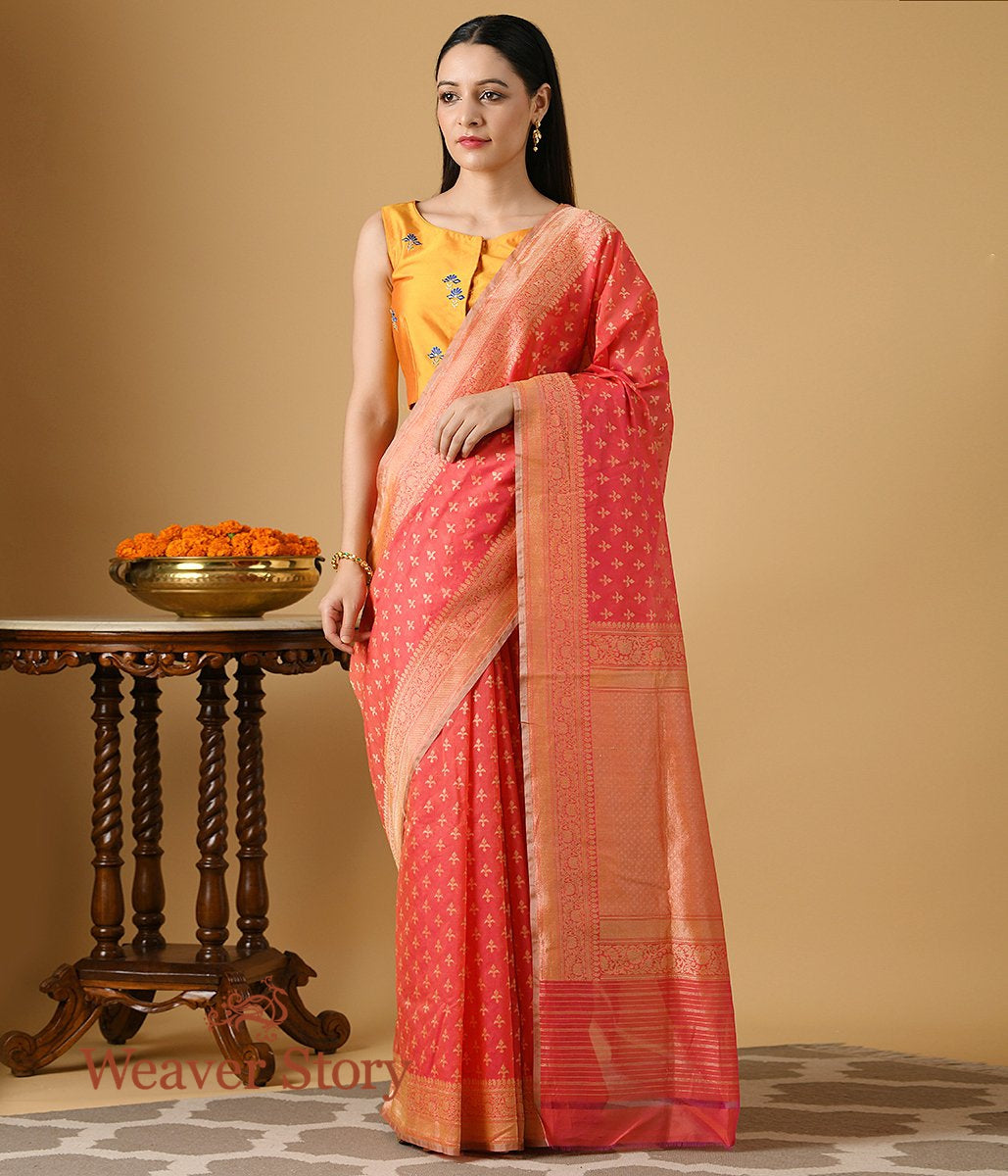 Handwoven Coral Red Cotton Banarasi with Thread Booti
