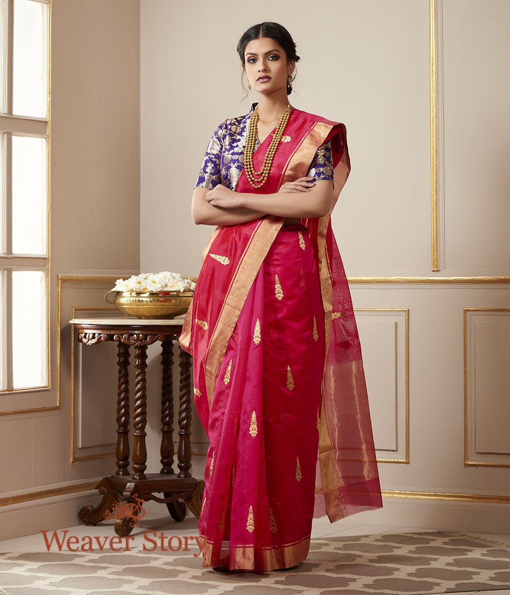 Handwoven Pink Chanderi Silk Saree with Gold Leaf Motif