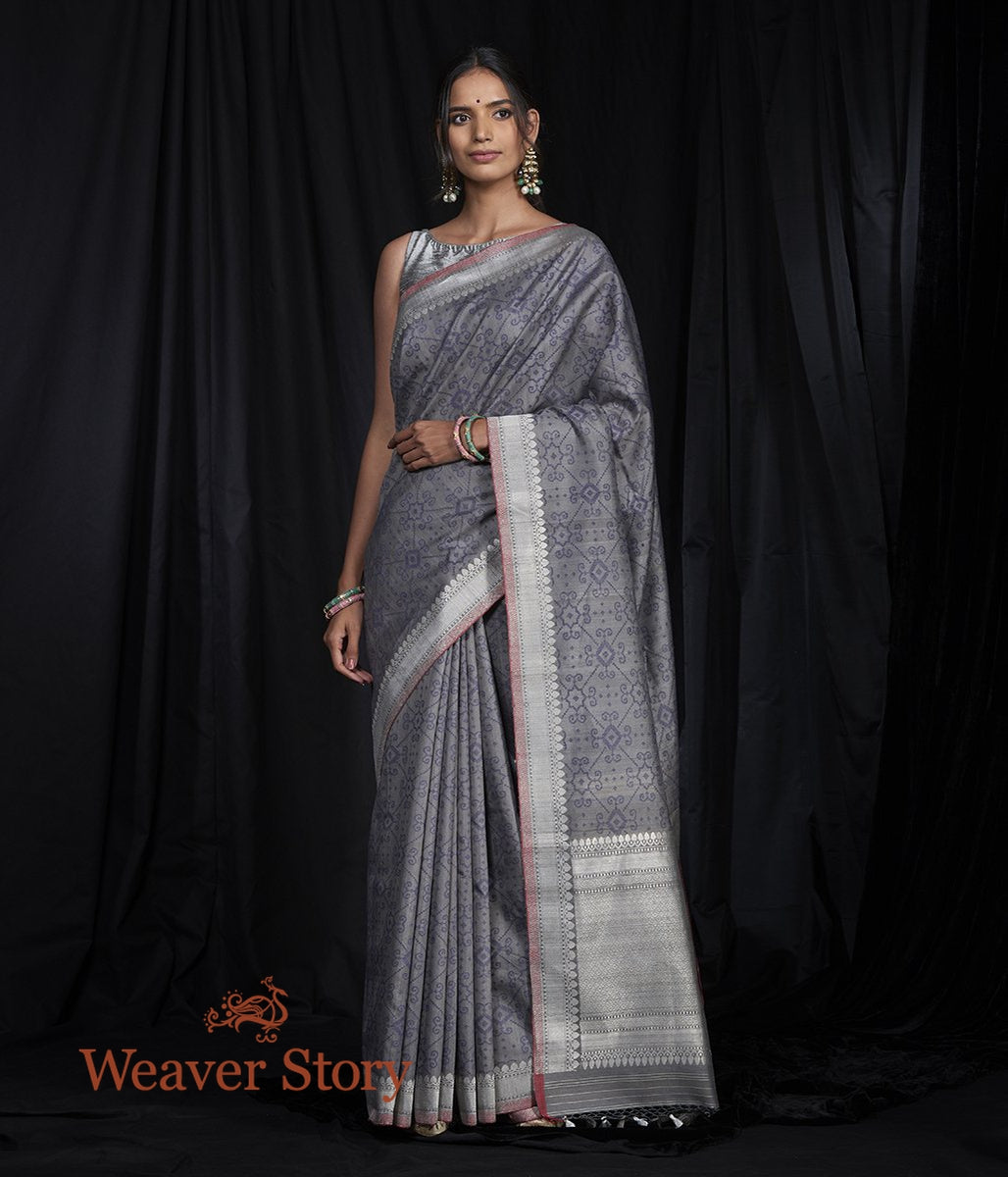Handwoven Grey Tusser Patola Saree with Kadhwa Border