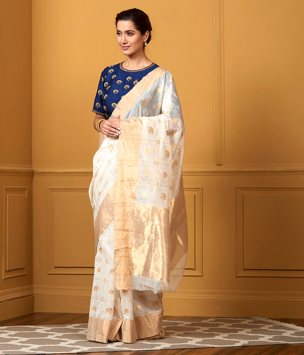 Handwoven White Zari Checks Saree with Elephant Motifs