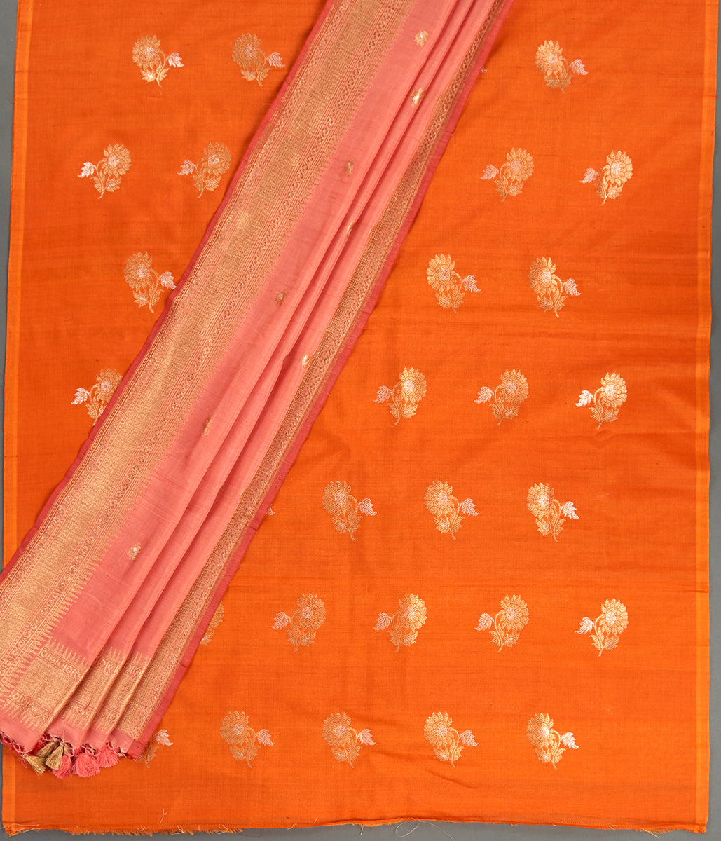 Suit Set - Handwoven Orange Tusser Kurta with Pink Dupatta