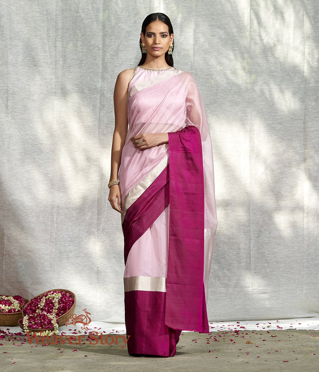 Handwoven Pink Plain Saree with Purple Mushroo Border